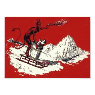 Roter Krampus Pferdeschlitten-Gebirgsschalter 12,7 X 17,8 Cm Einladungskarte