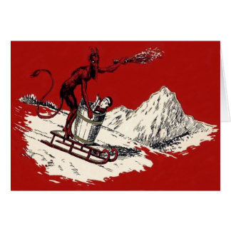 Roter Krampus Pferdeschlitten-Gebirgsschalter Grußkarten