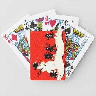 Roter Krampus Schneeball-Kampf-Schneemann-Schalter Spielkarten