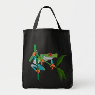 Roter mit Augen Baum-Frosch Einkaufstasche