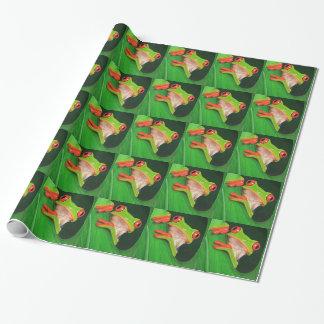 Roter mit Augen Baum-Frosch Geschenkpapier