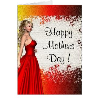 Roter moderner romantischer Muttertag Mitteilungskarte