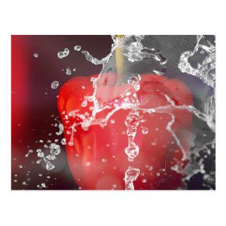 Roter Pfeffer-Spritzen Postkarte
