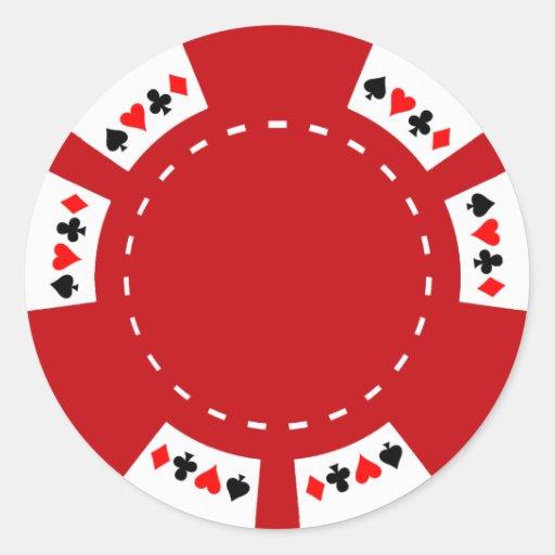 Roter Poker-und Spiel-Chip Runder Aufkleber
