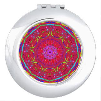 Roter PopFlower Mandala-Taschen-Spiegel Taschenspiegel