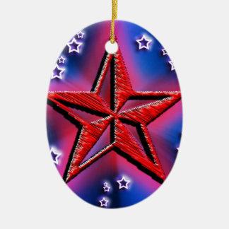 Roter Power-Stern Ovales Keramik Ornament