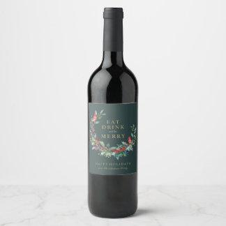 Roter Robin-Feiertags-Kranz-Wein-Aufkleber Weinetikett