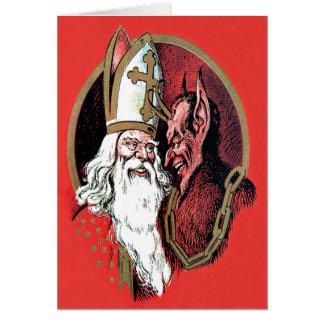 Roter Sankt Nikolaus Krampus Grußkarte