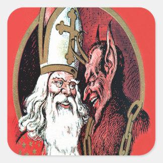 Roter Sankt Nikolaus Krampus Quadrat-Aufkleber