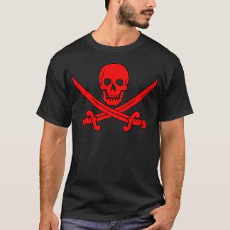 Roter Schädel-u. Schwerter-Piraten-Flaggen-T - T-Shirt