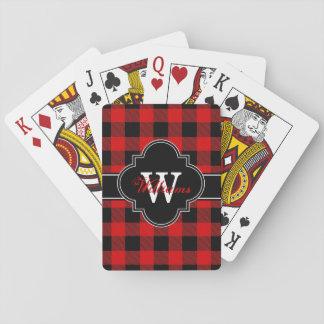 Roter schwarzer Büffel-Karokarierter Tartan 1IQN Spielkarten