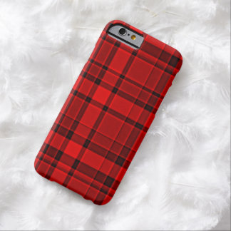 Roter schwarzer karierter Tartan Barely There iPhone 6 Hülle