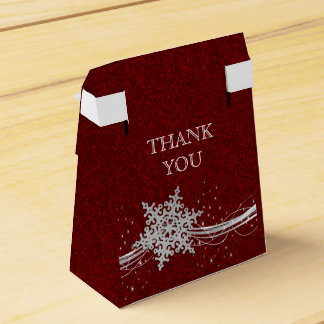 roter silberner Schneeflocke-Winter-Gastgeschenk Geschenkschachtel