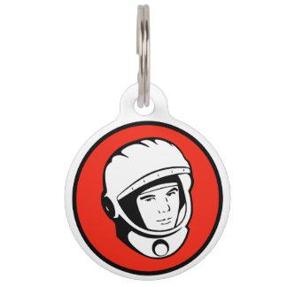 Roter sowjetischer Kosmonaut-Haustier-Umbau Tiernamensmarke