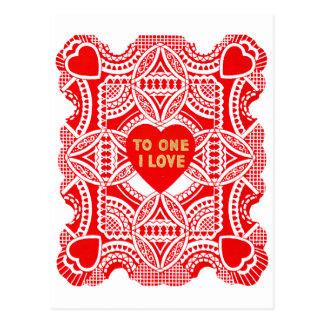 Roter Spitze-Valentinsgruß Postkarte