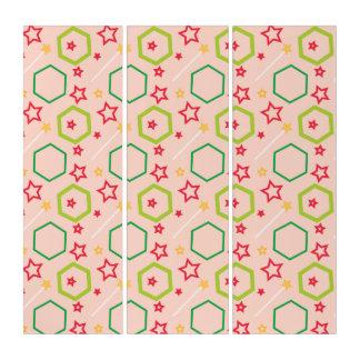 Roter Stern-geometrisches Muster auf Triptychon
