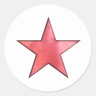 roter Stern Runder Aufkleber
