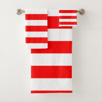 Roter Streifen Badhandtuch Set