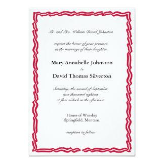 Roter Streifen-Fahnen-Rahmen 12,7 X 17,8 Cm Einladungskarte