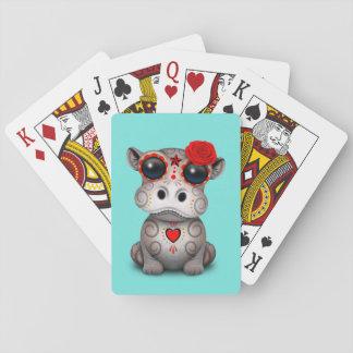 Roter Tag des toten Baby-Flusspferds Spielkarten