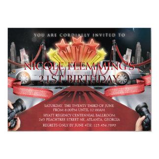 Roter Teppich-Geburtstags-Einladung 11,4 X 15,9 Cm Einladungskarte