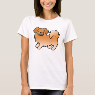 Roter tibetanischer Spaniel-Cartoon-Hund T-Shirt