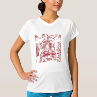 Roter Toile Muster-Entwurf T-Shirt
