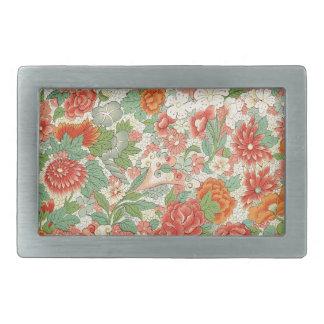 Roter u. grüner Vintager Blumenentwurf Rechteckige Gürtelschnalle