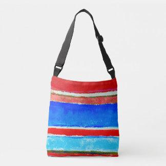 Roter und blauer Sommer Stripes Crossbody Tasche