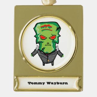 Roter und grüner Cartoon Halloween Frankenstein Banner-Ornament Gold