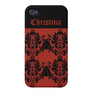 Roter und schwarzer Damast kundenspezifischer iPhone 4 Cover