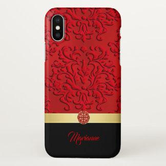 Roter und schwarzer Damast und keltischer Knoten iPhone X Hülle