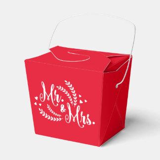 Roter und weißer Hochzeits-mit Blumenherr u. Frau Geschenkkartons