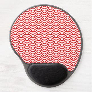Roter und weißer japanischer geometrischer Kreis Gel Mousepad
