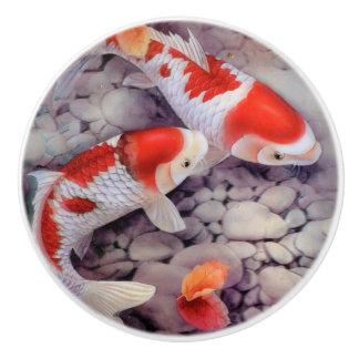 Roter und weißer Koi Fisch-Teich Keramikknauf