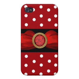 Roter und weißer Tupfen iPhone 4/4S Hüllen