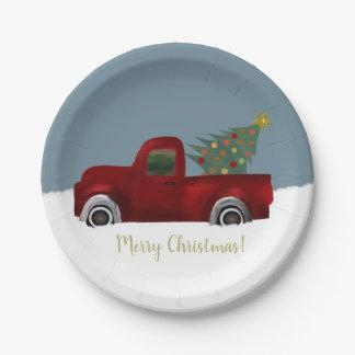 Roter Vintager Retro LKW-und Weihnachtsbaum Pappteller