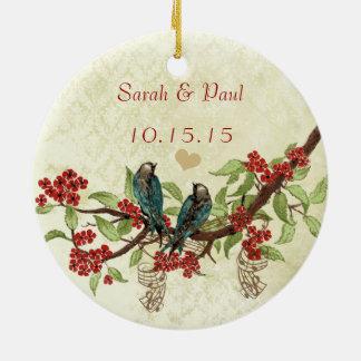 Roter Vintager Vogel-1. Keramik Ornament