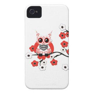 Roter weißer Kirschblüten-Eulen-Kasten iPhone 4 Etuis