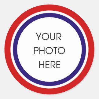 Roter weißer und blauer Foto-Rahmen Runder Aufkleber