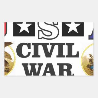 roter weißer und blauer ziviler Krieg Rechteckiger Aufkleber