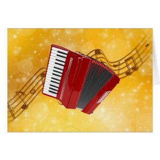 Rotes Akkordeon auf musikalischen Anmerkungen Karte