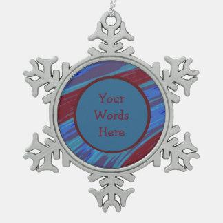 Rotes Blau-FarbSwish abstrakt Schneeflocken Zinn-Ornament