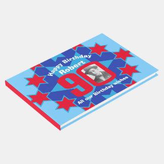 rotes blaues Gastbuch des 90. Gästebuch