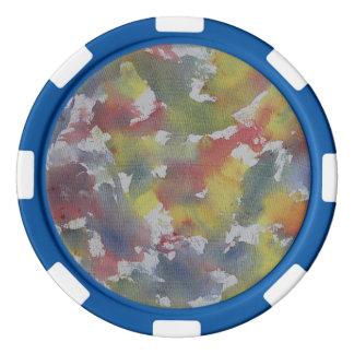 Rotes blaues gelbes Aquarell Poker Chip Set
