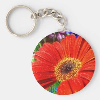 Rotes Blumenkeychain Schlüsselanhänger