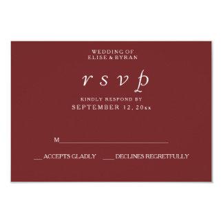 Rotes elegantes modernes Hochzeit Burgunders UAWG 8,9 X 12,7 Cm Einladungskarte