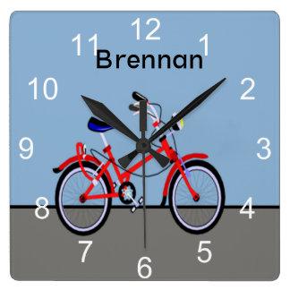 Rotes Fahrrad Quadratische Wanduhr