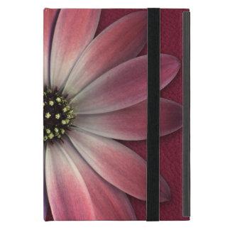 Rotes Gänseblümchen auf Wein-Leder-Druck iPad Mini Etui
