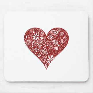 Rotes Gekritzel-Herz Mauspad